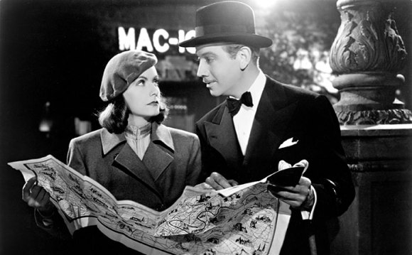 "Greta Garbo and Melvyn Douglas in the very definition of ""meet cute"" -- from Ernst Lubitsch's NINOTCHKA (1939, MGM)"